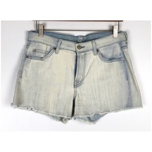 7 For All Man Kind Light Wash Cut Off Jean Shorts
